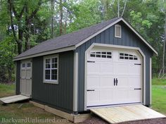 12'x20' Garden Shed Garage with Transom Double Doors, Gable Vents,  Ramps, and Heritage Garage Door