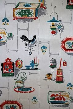 looks similiar to my 93 yr. old mother in laws kitchen paper NOW in 2014!!! Original!!!!!Best. Wallpaper. EVER.