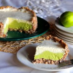 Delicious key lime pie made into a frozen cake using avocados. Raw, gluten free, wheat free and free of refined sugars