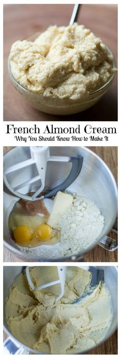 Quick & Easy French Almond Cream Filling - just add the almonds, butter, eggs and sugar to the bowl and whip. Great for filling Pastries, Tarts, Croissants & Toast. Almond Croissant Recipe From Scratch, Almond Filling Recipe, Almond Cream Recipe, Cake Filling Recipes, Pastry Recipes, Tart Recipes, Almond Recipes, French Cream Recipe, Almond Pastry