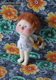 Купить Ангелочек, по мотивам картин Евгении Гапчинской, кукла из шерсти - белый, ангел, ангелочек, ангелы