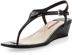 Prada Patent Leather Thong Demi-Wedge Sandal, Nero