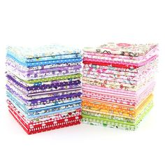 Random Color Thin Cotton Cloth Printed No Repeat Design Charm Packs Sewing Fabric Quilting Decoration 50 pcs