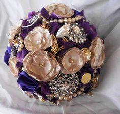 Brooch Wedding Bouquet Deposit, Many Peonies, Bridal, Vintage, bouquet brooch, Custom, Pearls Crystals Fabric Flower Bouquet, weddings. $115.00, via Etsy.