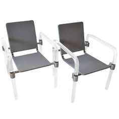 View this item and discover similar for sale at - Pair of 'pipe line series II' chairs in molded Lucite with custom aluminum fittings by Jeff Messerschmidt, American, each chair is signed, dated Outdoor Chairs, Outdoor Furniture, Outdoor Decor, Lucite Chairs, Side Chairs, Home Decor, Decoration Home, Room Decor, Garden Chairs