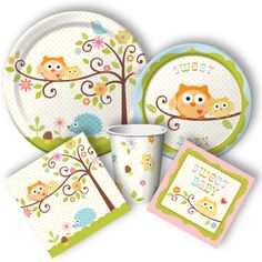 """Owl Babyshower Supplies from www.DiscountPartySupplies.com """"Happi Tree"""""""