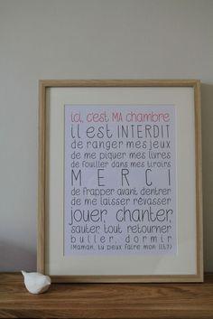 """Affiche """"Ici, c'est MA chambre"""" - La Cabane à Eugène / http://lacabaneaeugene.bigcartel.com/product/affiche-ici-c-est-ma-chambre"""