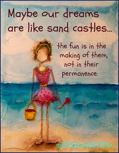 """14x11 (approximate) """"Sand Architect"""" archival print of original colorful whimsical artwork by Marabeth Quin"""
