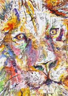 Lion ORIGINAL Watercolor  Mixed Media painting by kitsunderland, $225.00