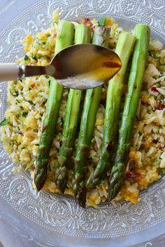 asperges grillées et crumble de légumes