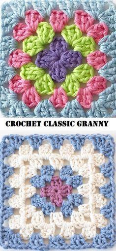 How to Crochet a Solid Granny Square - Crochet Ideas Crochet Super Easy Cross Square – Design Peak Crochet Squares Afghan, Granny Square Crochet Pattern, Crochet Granny, Crochet Blanket Patterns, Crochet Motif, Easy Crochet, Knitting Patterns, Sewing Patterns, Granny Squares