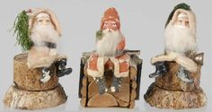 Lot # : 109 - Lot of 3: Christmas Santa Candy Containers.