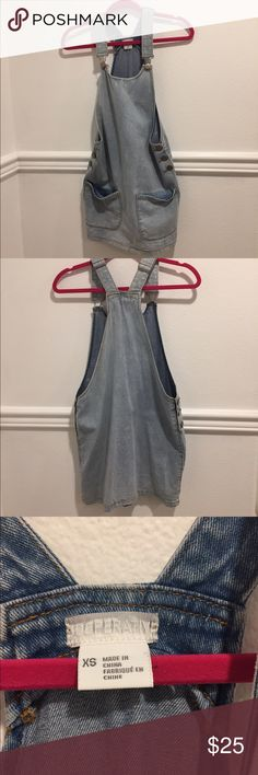 Urban Outfitters Denim Skirt Overalls Adjustable straps. Pockets in the front. Only worn once. Really cute with a crop top underneath. Cooperative Dresses Mini