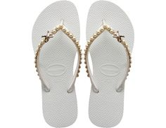 Pearls on white Havaianas!