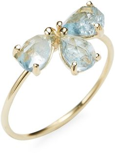 Jacquie Aiche Fine Women's 14K Yellow Gold Aquamarine Teardrop Stack Ring