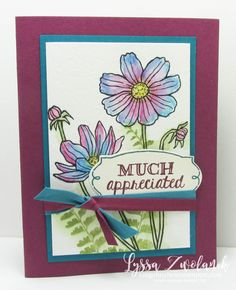 by Lyssa: Helping Me Grow, Butterfly Basics, SU Watercolor Pencils, Rose Garden Thinlits - all from Stampin' Up!