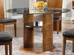 Walnut Dining Table - JF603 by Jual Furnishings - The clear glass top is toughened to British standard and allows you to always see the table's unique design.