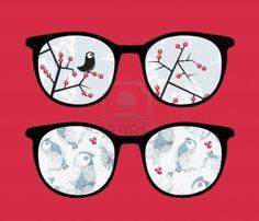 Retro sunglasses with  winter birds reflection in it.  Stock Photo