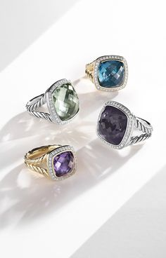 Albion® rings with diamonds and gemstones.