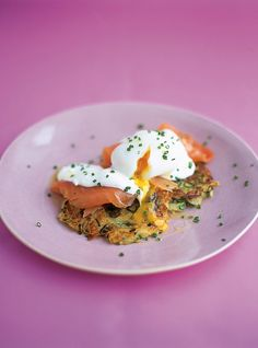 Sunday Brunch: Potato Pancakes with Smoked Salmon. I like to add dill to my sour cream.
