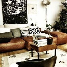 Home Decorating Style 2019 for Black And Tan Living Room, you can see Black And Tan Living Room and more pictures for Home Interior Designing 2019 at Best Home Living Room. Cream Living Rooms, Living Room Grey, Living Room Sofa, Home Living Room, Living Room Decor, Home Design, Living Divani, Tan Leather Sofas, Leather Pillow