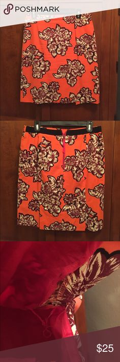Anthropologie Maeve Floral Pencil Skirt Gorgeous orange pencil skirt for fall!  Excellent used condition except for a rip in the lining along the seam, which appears fixable.  Lots of life left and priced to sell.  Offers welcome.  21 inches long.  Approx 15.75 in across the waist laying flat but there is also some stretch in the waistband. Anthropologie Skirts Pencil
