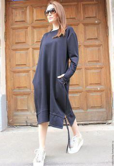 Длинное платье черное трикотажное платье дизайнерское платье макси платье на каждый день стильное платье плотное платье туника длинная…