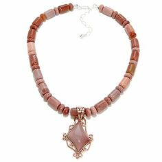 Jay King Pacific Rose Apple Stone Pendant with Necklace