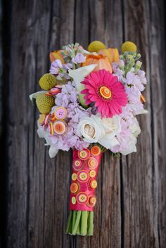colourful button and floral bouquet