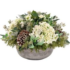 Faux Frosty Hydrangea & Pinecone Arrangement from the Natural Decorations at Joss and Main