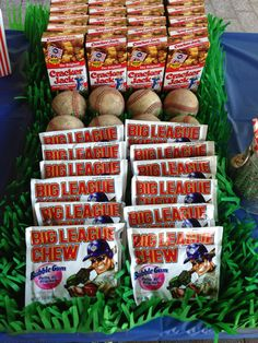 Baseball themed birthday party. 30th birthday. big league chew gum. cracker jack. fake grass. tablecloth.