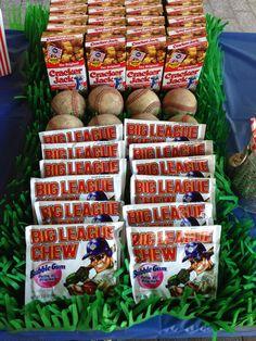 Baseball themed birthday party. 30th birthday. big league chew gum. cracker jack. fake grass. tablecloth.