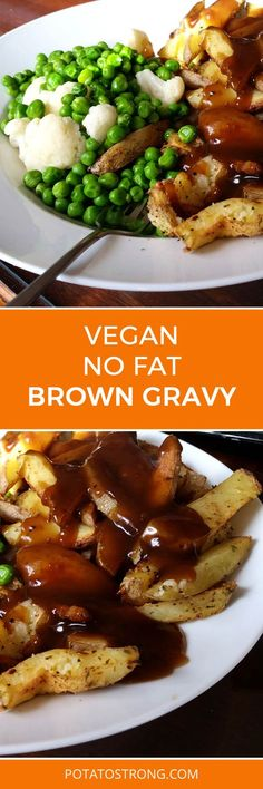 Vegan No Fat Brown Gravy I discuss the brown gravy recipe here in the video as well. Made my own single portion quick gravy mix, like the store bought packets, since I eat a lot of potatoes. I wanted to reduce the corn starch as it can affect the flavour. Vegan Foods, Vegan Dishes, Brown Gravy Recipe, Vegan Gravy, Vegetarian Recipes, Healthy Recipes, Vegan Thanksgiving, Carne, Whole Food Recipes