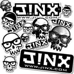 Want to be a loyal follower to spread the J!NX love? To represent, pick up this sticker pack containing several different versions of the J!NX skull and logo and slap them wherever your heart desires.  Some in the set are dupes, so give one set to a friend or hoard them all for yourself.