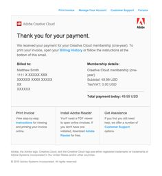 Confirmation: We received your Creative Cloud membership (one-year) payment