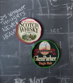 Fridge magnets Scotch whisky labels upcycled jar lids small gift refrigerator…