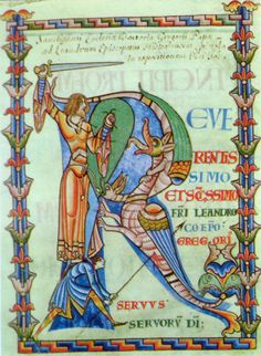 Medival knight illumination | 12th century knight and his servant slaying two dragons in a ...