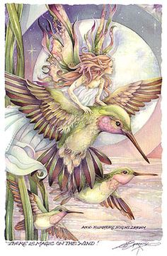 'There is magic in the wind! Fairy and hummingbird <> (fairies, faeries, sprites, pixies, magical)
