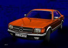 Mercedes-Benz Coupé in blue & orange (S-Klasse, C 126)