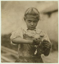 7 year old in her second year as an Oyster Shucker. Photos Of Child Labor Between 1908 And 1916