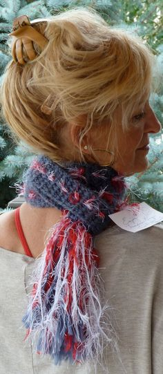 Patriotic Crochet Scarf Red White Blue by hatsbyanne1942 on Etsy, $30.00
