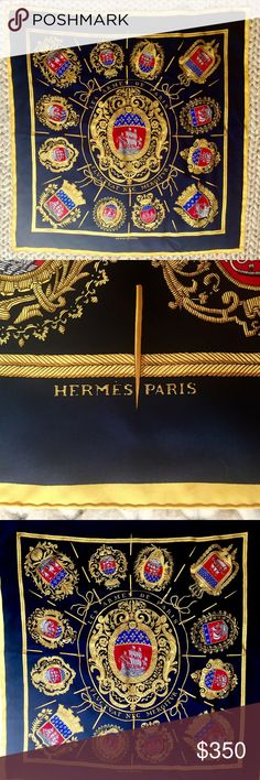 "RARE Hermes ""Les Armes De Paris"" Silk  Carre Scarf Hermès scarf decorated with both the coat of arms and motto of the City of Paris - which is where my mom bought it for me!   It's an extremely rare Hermes scarf because the design, by Hugo Grygkar, was issued in 1954, and only reedited 1989 - 1990, when we bought it.   I love the meaning of the Latin Paris motto, ""It is beaten by the waves but does not sink.""  In the classic carre size (90 cm square) - Approximately 35 x 35 inches. 100% silk…"