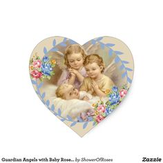 Guardian Angels with Baby Roses Wreath Heart Sticker