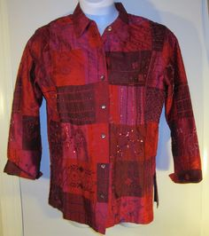 Chico's Silk Embellished Jacket Button Front Red Long Sleeve Top Women's Sz 0 #ChicosDesign #Blazer