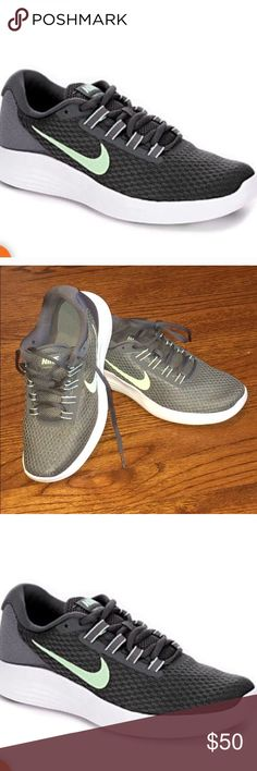 Nike LunarConverge women's running shoe NEW size 8 Brand new never worn Nike Lunar Converge running shoe. Delivers comfort with two densities of soft under foot. Sorry no box. But brand new never worn Grey color with green Nike tick. Nike Shoes Athletic Shoes