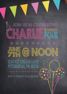 Children Chalkboard Birthday Invitation by KLacapra on Etsy