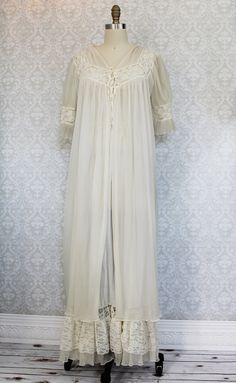 Gossamer 50's Lace Maxi Nightgown + Robe Set