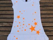 Vestido estrellas naranjas fluorescentes hand made