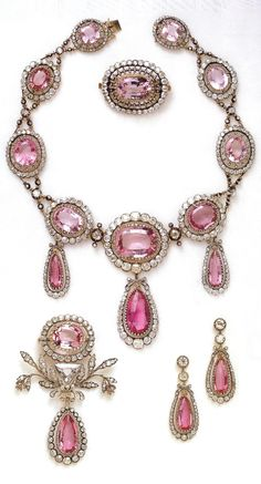 Repost from using - Couldn't resist adding this parure for the theme today on Brazilian pink topaz jewels originally made for Grand Duchess Maria Pavlovna, and now part of the collection of the Swedish royal family. Royal Crown Jewels, Royal Jewelry, Jewelry Sets, Jewelry Accessories, Fine Jewelry, Royal Crowns, Antique Jewelry, Vintage Jewelry, Jewelery