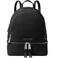 Michael Michael Kors Rhea Perforated Leather Backpack (£245) ❤ liked on Polyvore featuring bags, backpacks, black, top handle bags, day pack backpack, leather backpacks, genuine leather bags and leather knapsack